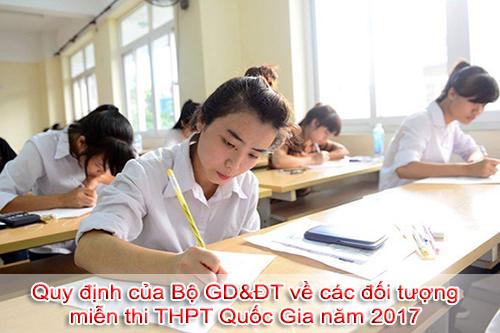 Quy định về các đối tượng được miễn thi trong kì thi THPT Quốc gia năm 2017