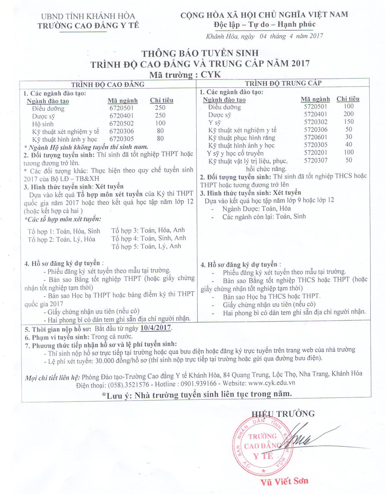 Trường Cao đẳng Y tế Khánh Hòa tuyển sinh 2017